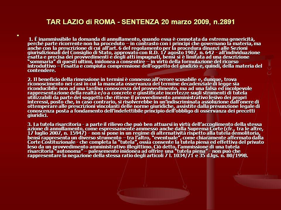 TAR LAZIO di ROMA - SENTENZA 20 marzo 2009, n.2891