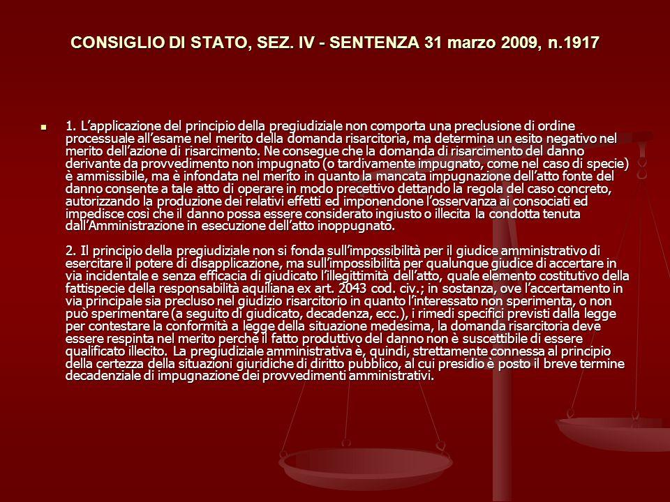 CONSIGLIO DI STATO, SEZ. IV - SENTENZA 31 marzo 2009, n.1917