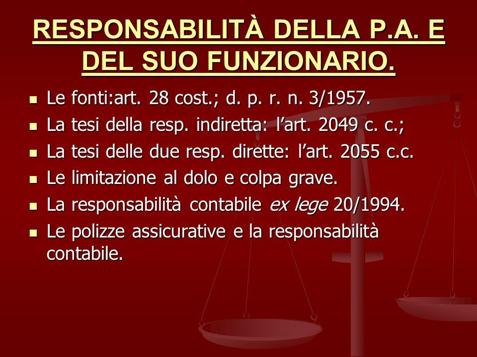 RESPONSABILITÀ DELLA P.A. E DEL SUO FUNZIONARIO.