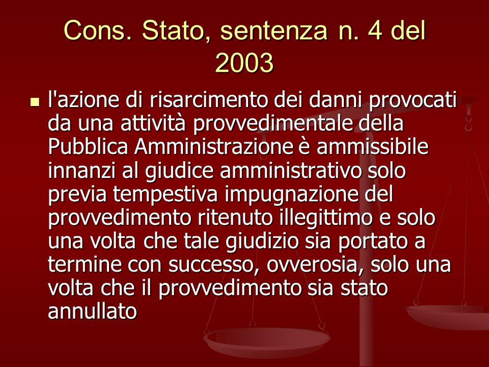 Cons. Stato, sentenza n. 4 del 2003