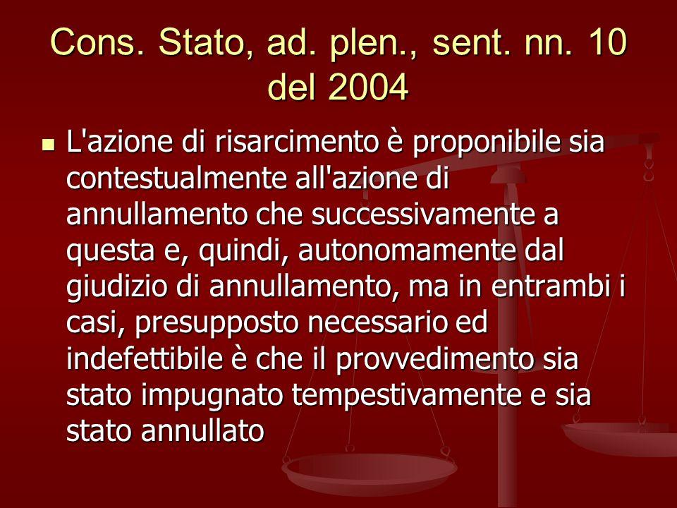 Cons. Stato, ad. plen., sent. nn. 10 del 2004