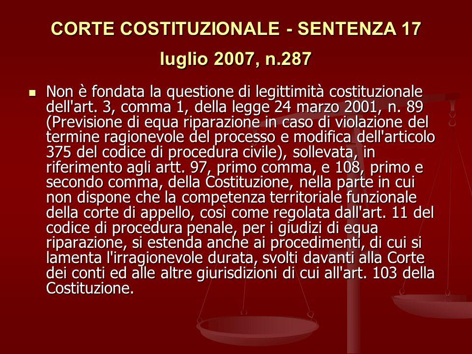 CORTE COSTITUZIONALE - SENTENZA 17 luglio 2007, n.287