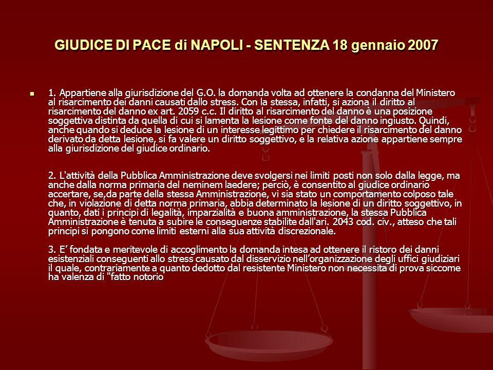 GIUDICE DI PACE di NAPOLI - SENTENZA 18 gennaio 2007
