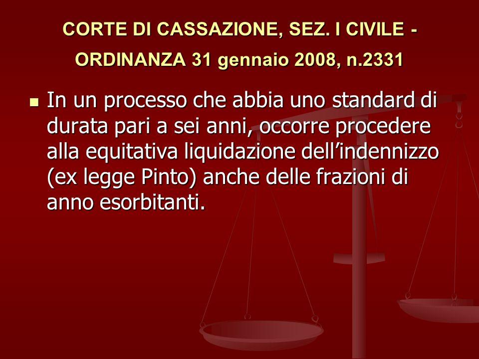 CORTE DI CASSAZIONE, SEZ. I CIVILE - ORDINANZA 31 gennaio 2008, n.2331