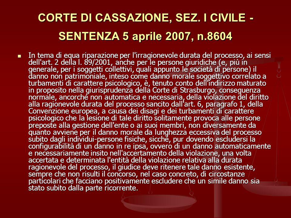 CORTE DI CASSAZIONE, SEZ. I CIVILE - SENTENZA 5 aprile 2007, n.8604