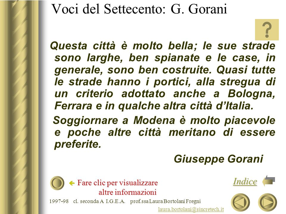 Voci del Settecento: G. Gorani