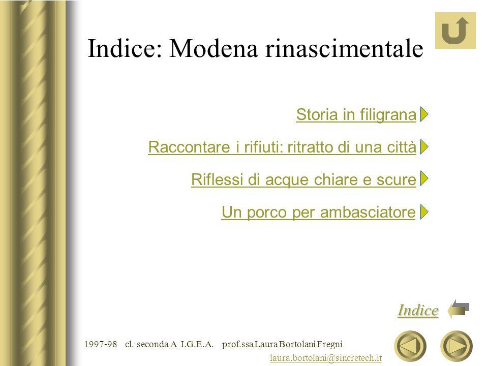Indice: Modena rinascimentale