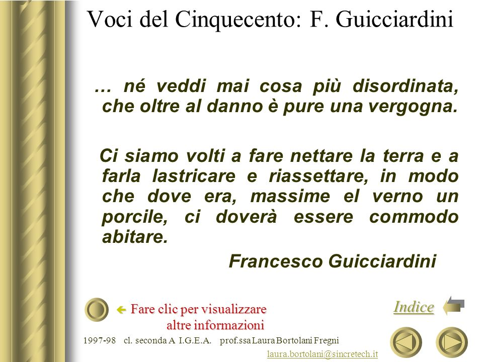 Voci del Cinquecento: F. Guicciardini