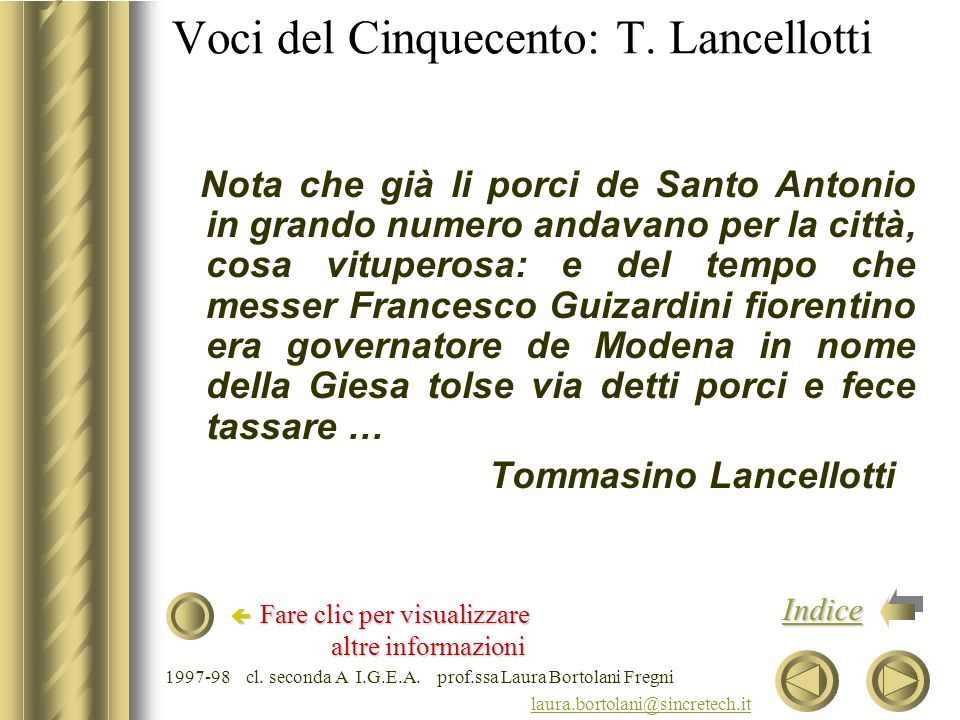 Voci del Cinquecento: T. Lancellotti