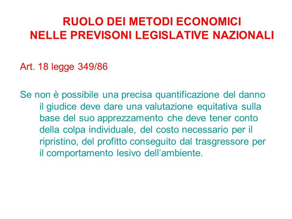 RUOLO DEI METODI ECONOMICI NELLE PREVISONI LEGISLATIVE NAZIONALI