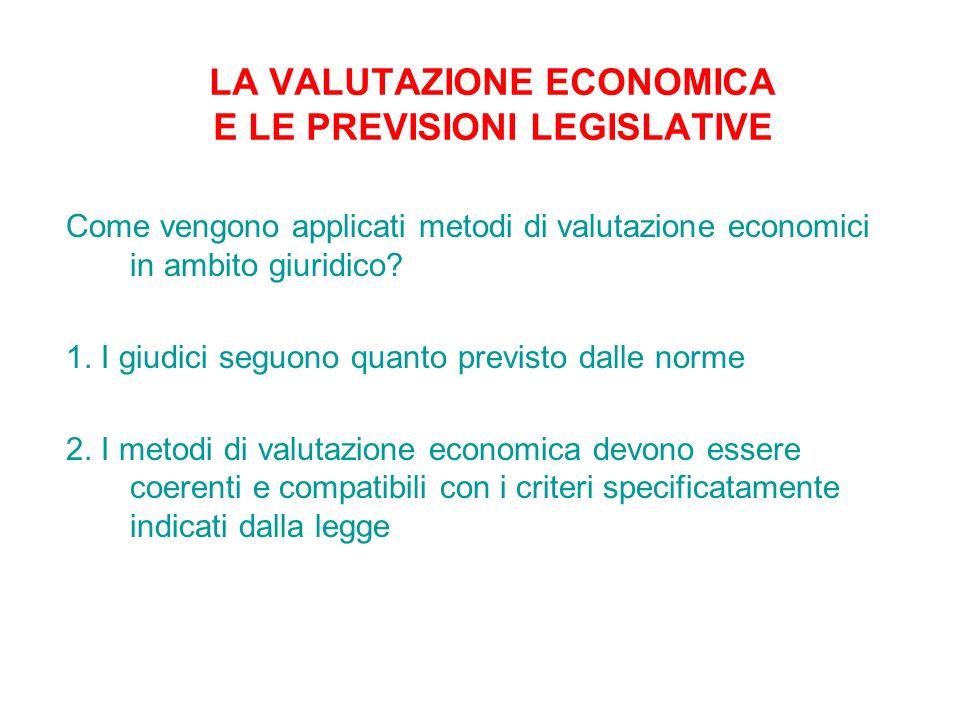LA VALUTAZIONE ECONOMICA E LE PREVISIONI LEGISLATIVE
