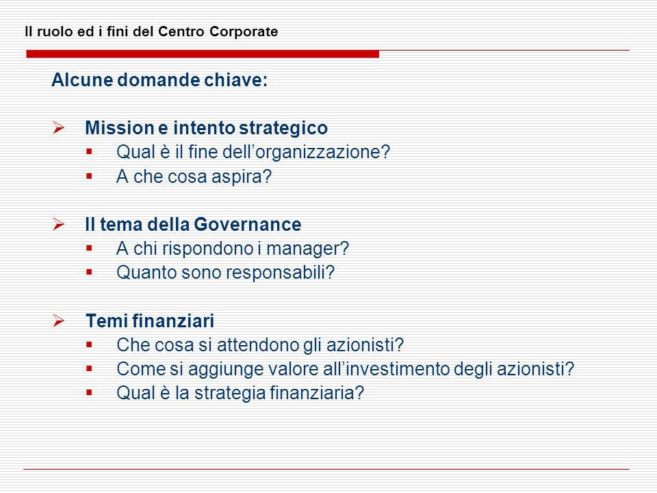 Il ruolo ed i fini del Centro Corporate