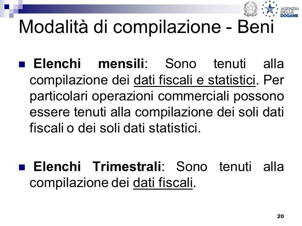 Modalità di compilazione - Beni