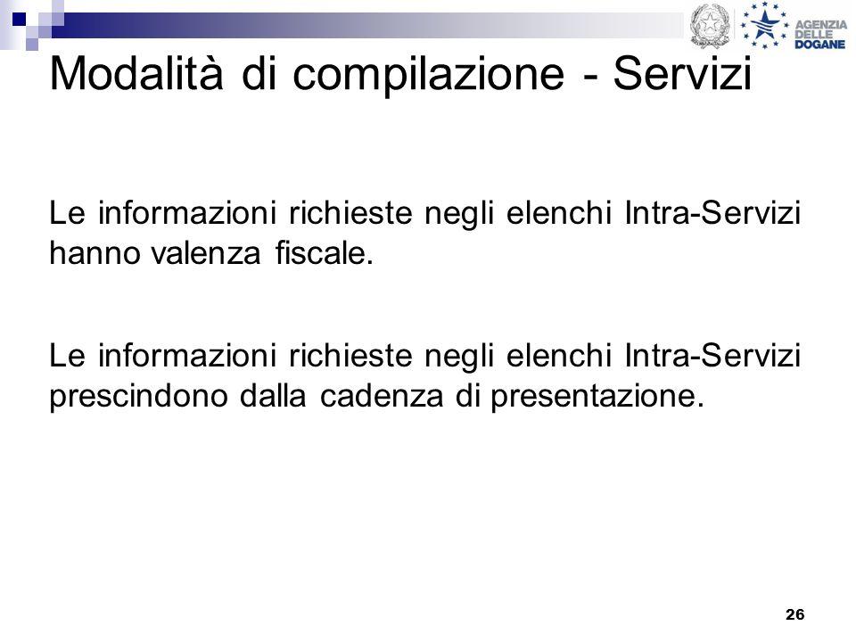 Modalità di compilazione - Servizi