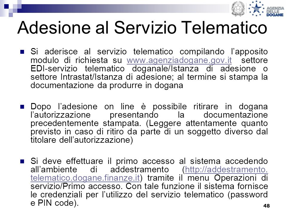 Adesione al Servizio Telematico