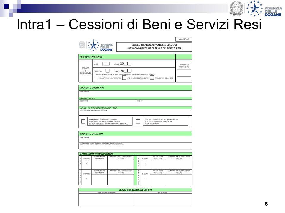 Intra1 – Cessioni di Beni e Servizi Resi