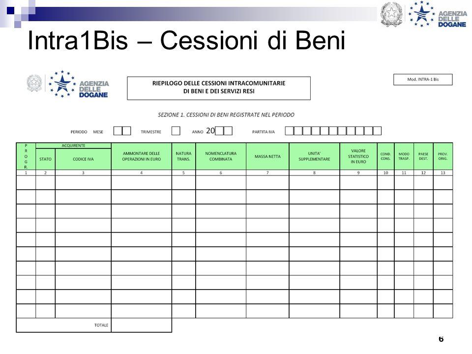 Intra1Bis – Cessioni di Beni