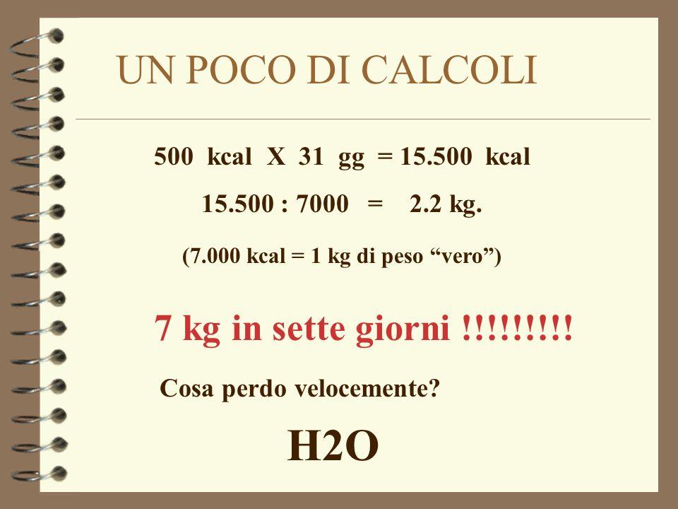 H2O UN POCO DI CALCOLI 7 kg in sette giorni !!!!!!!!!