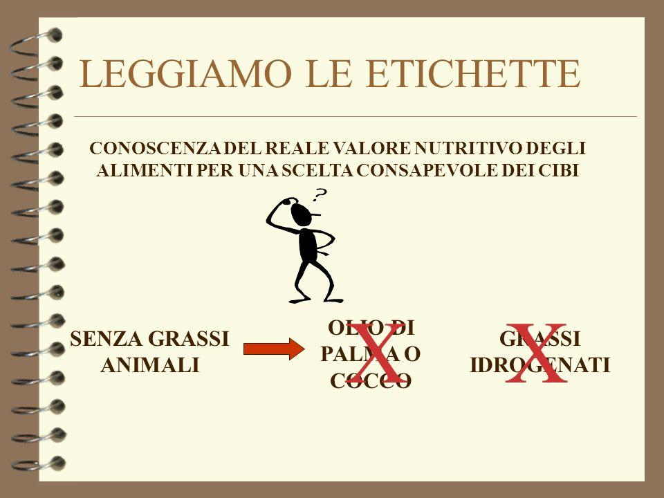 X X LEGGIAMO LE ETICHETTE OLIO DI PALMA O COCCO SENZA GRASSI ANIMALI