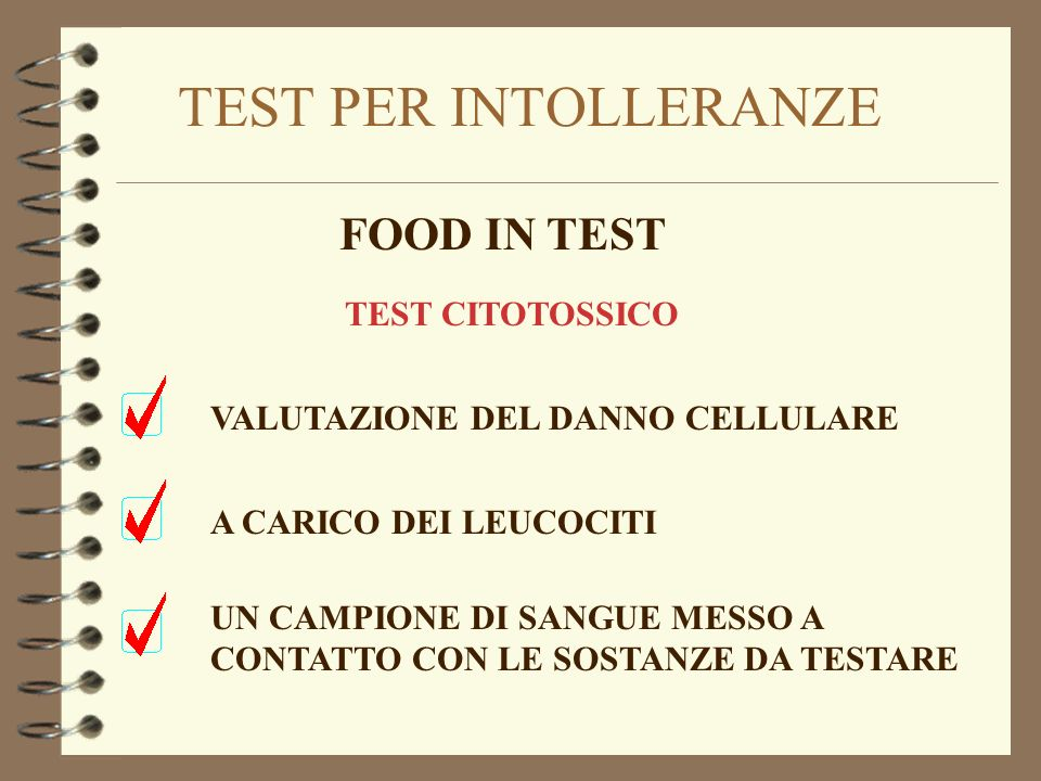 TEST PER INTOLLERANZE FOOD IN TEST TEST CITOTOSSICO