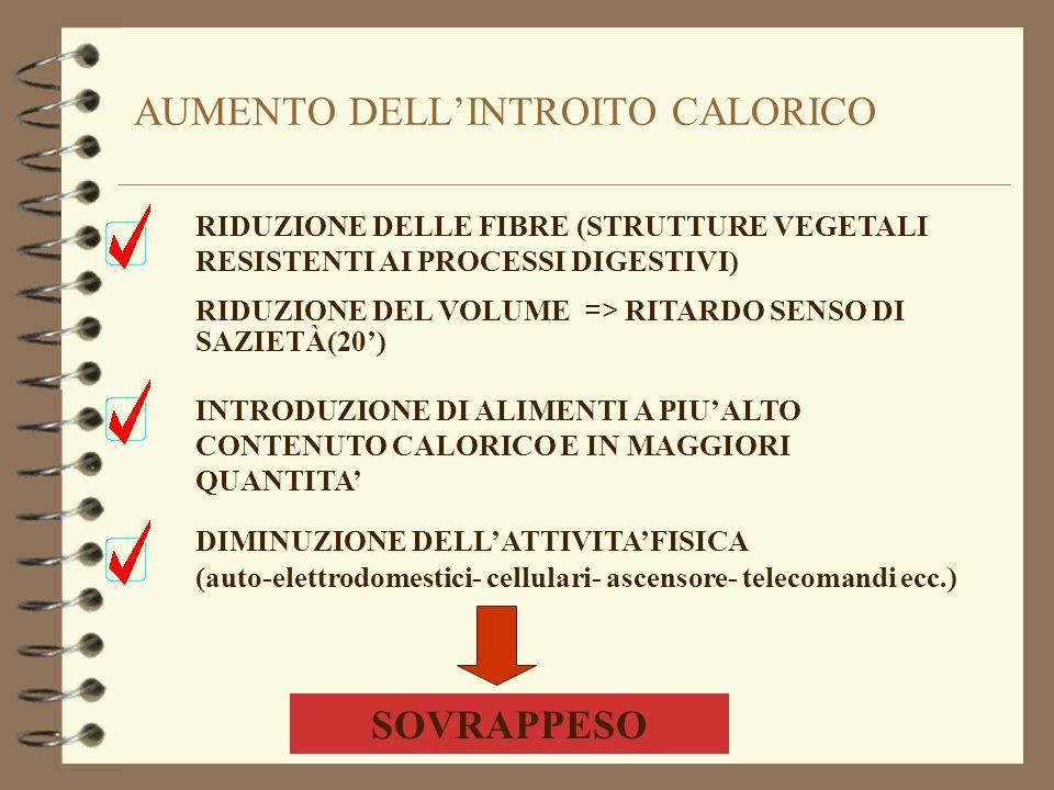 AUMENTO DELL'INTROITO CALORICO