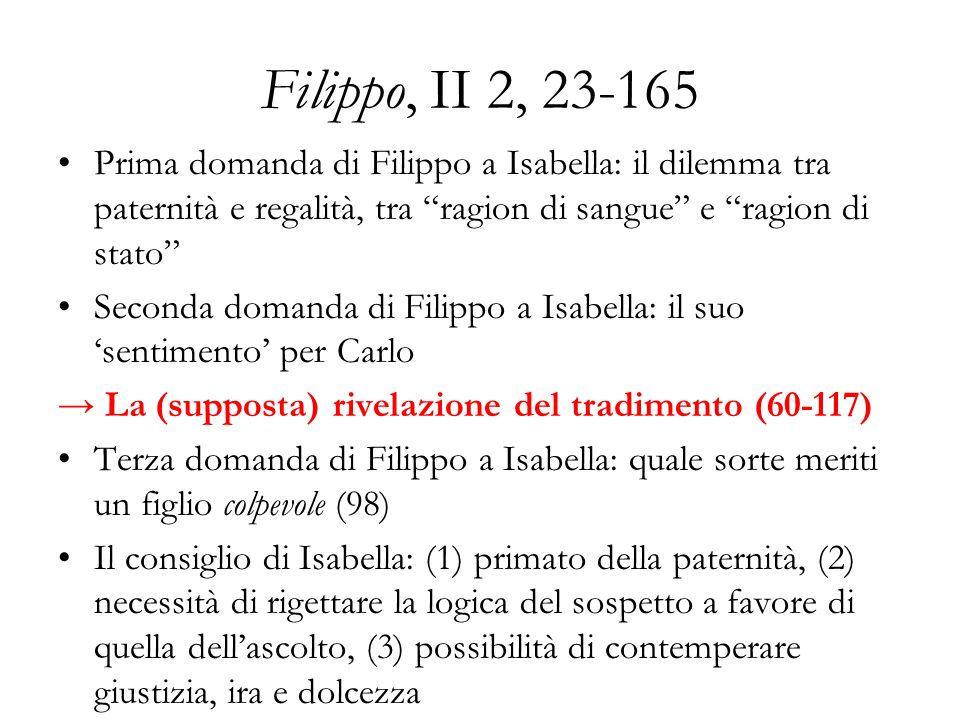 Filippo, II 2, 23-165 Prima domanda di Filippo a Isabella: il dilemma tra paternità e regalità, tra ragion di sangue e ragion di stato