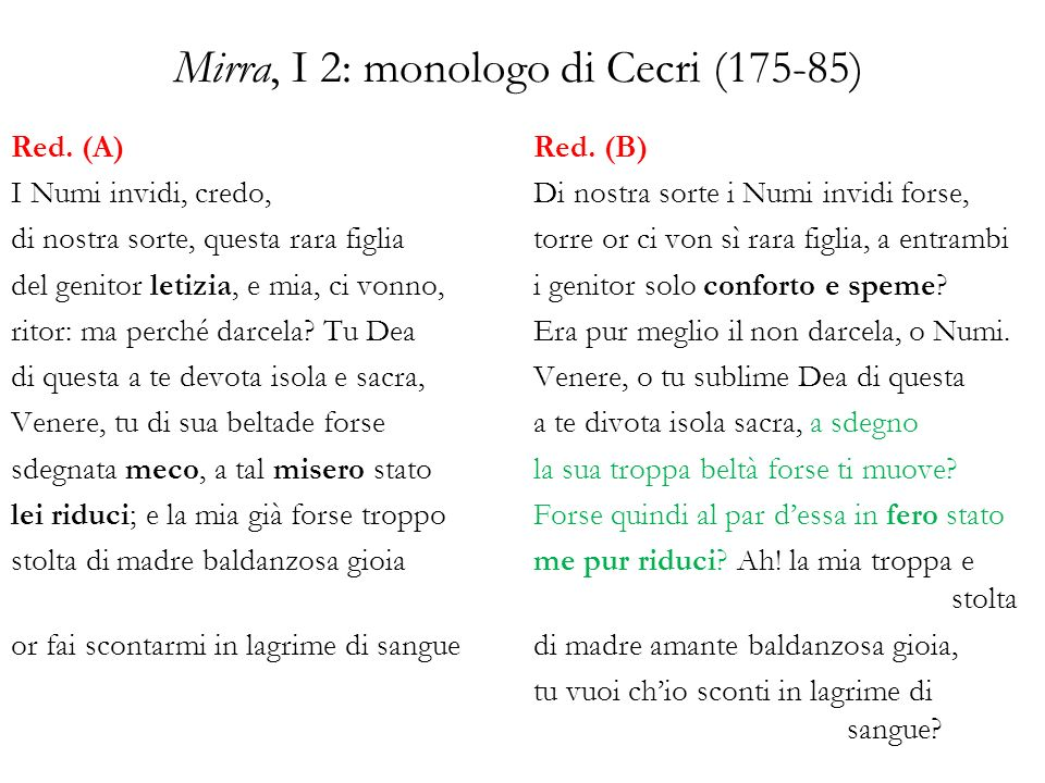 Mirra, I 2: monologo di Cecri (175-85)