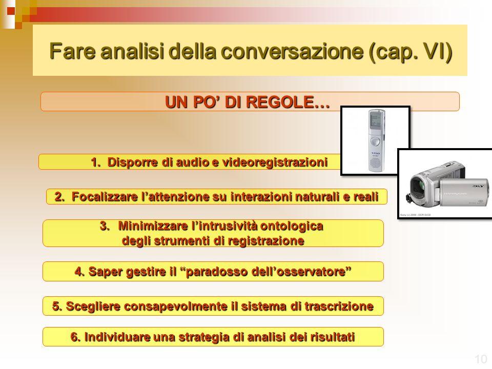 Fare analisi della conversazione (cap. VI)