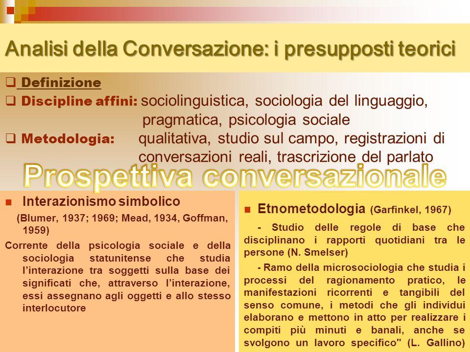 Analisi della Conversazione: i presupposti teorici