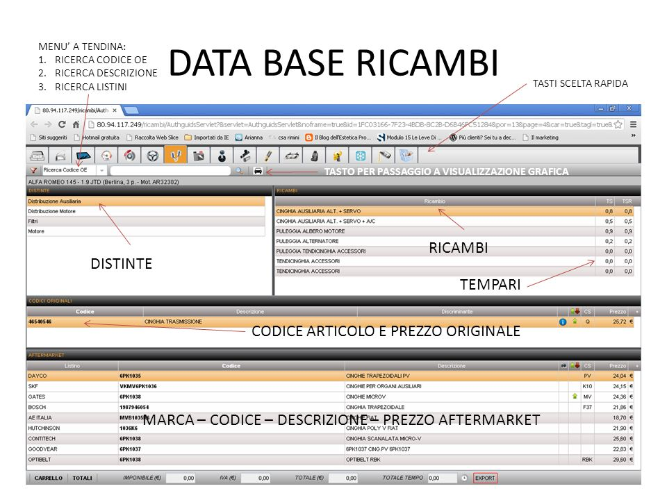 DATA BASE RICAMBI RICAMBI DISTINTE TEMPARI