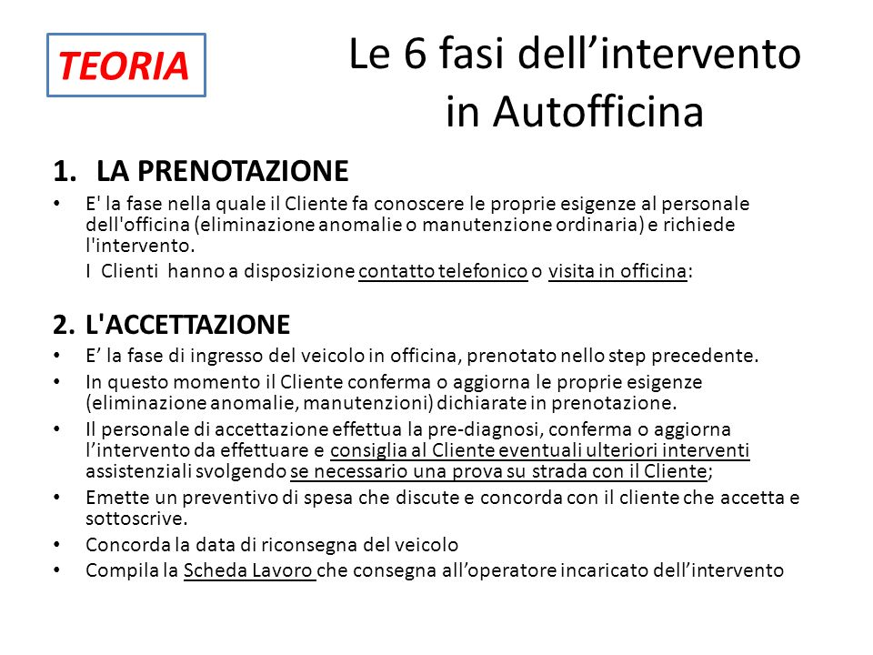 Le 6 fasi dell'intervento in Autofficina