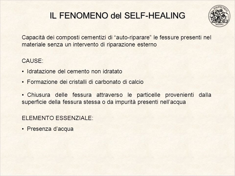IL FENOMENO del SELF-HEALING