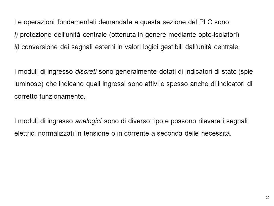 Le operazioni fondamentali demandate a questa sezione del PLC sono: