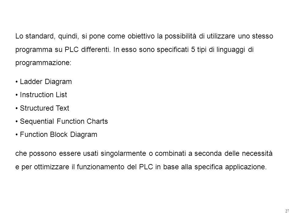 Lo standard, quindi, si pone come obiettivo la possibilità di utilizzare uno stesso programma su PLC differenti. In esso sono specificati 5 tipi di linguaggi di programmazione: