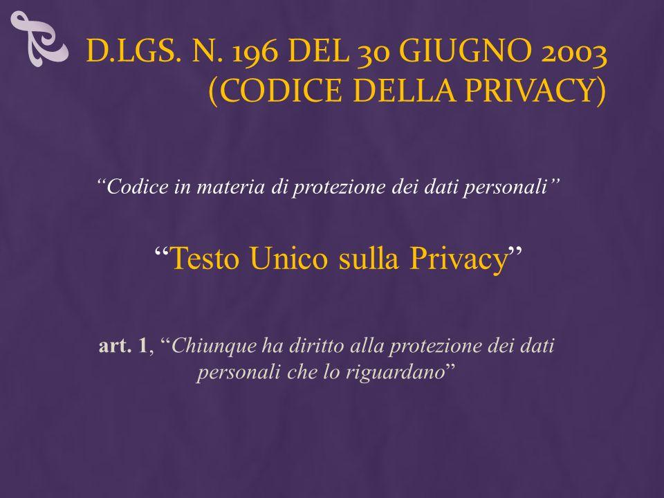 d.lgs. n. 196 del 30 giugno 2003 (Codice della privacy)