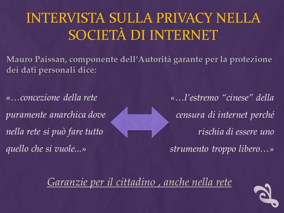 Intervista sulla privacy nella società di internet