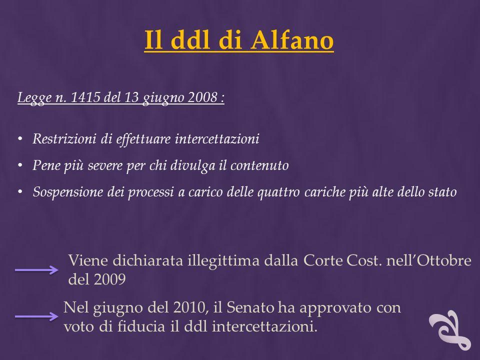 Il ddl di Alfano Legge n. 1415 del 13 giugno 2008 : Restrizioni di effettuare intercettazioni. Pene più severe per chi divulga il contenuto.