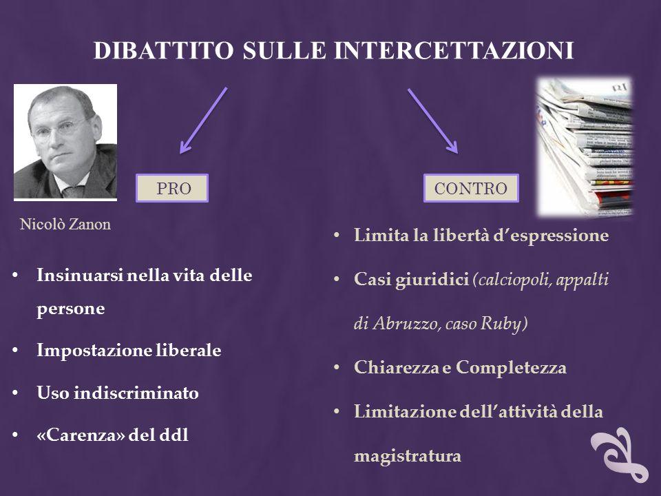 DIBATTITO SULLE INTERCETTAZIONI
