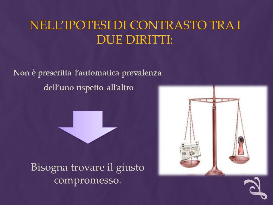 NELL'IPOTESI DI CONTRASTO TRA I DUE DIRITTI: