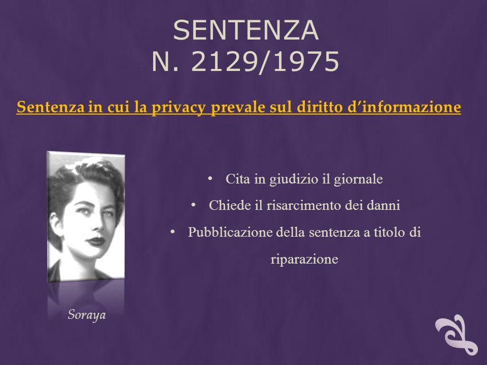 Sentenza n. 2129/1975 Sentenza in cui la privacy prevale sul diritto d'informazione. Cita in giudizio il giornale.