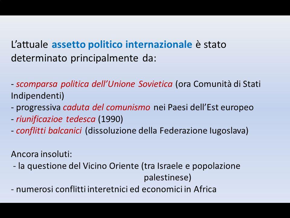 L'attuale assetto politico internazionale è stato determinato principalmente da: