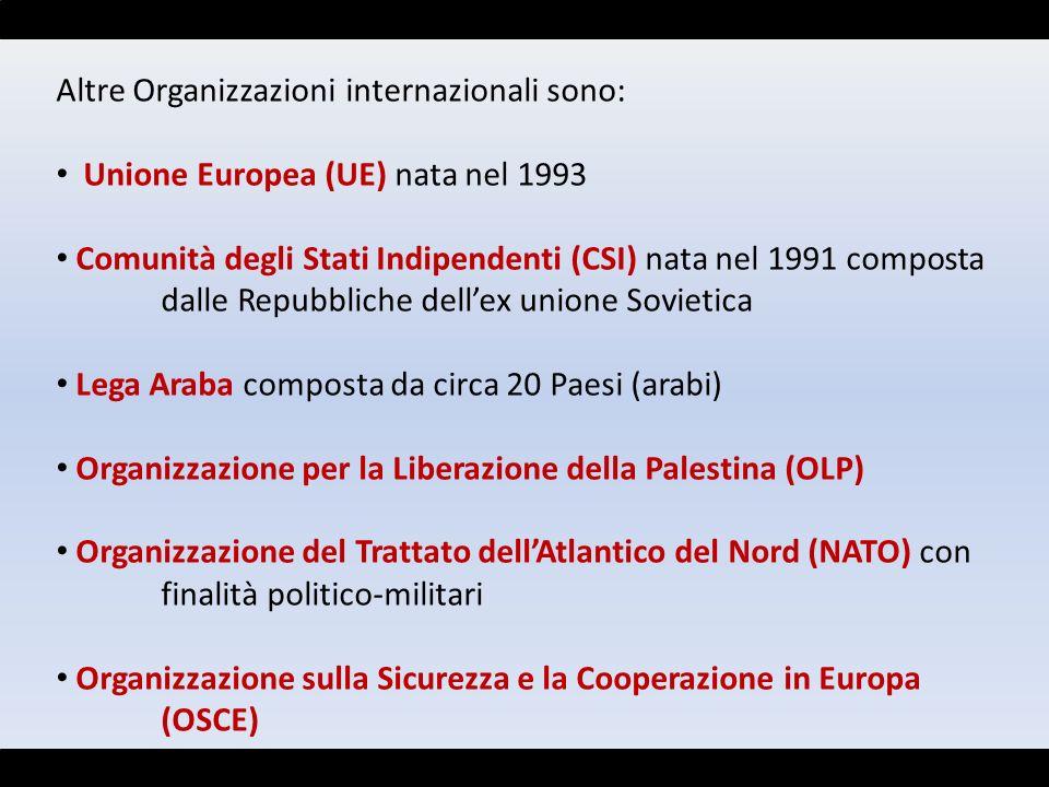 Altre Organizzazioni internazionali sono: