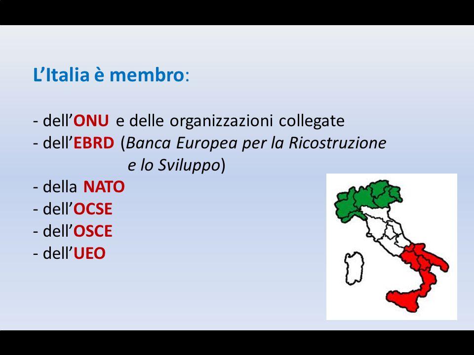 L'Italia è membro: dell'ONU e delle organizzazioni collegate
