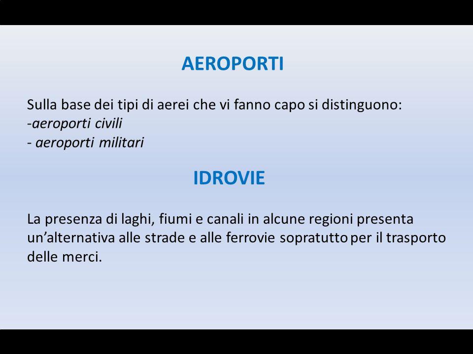 AEROPORTI Sulla base dei tipi di aerei che vi fanno capo si distinguono: aeroporti civili. aeroporti militari.