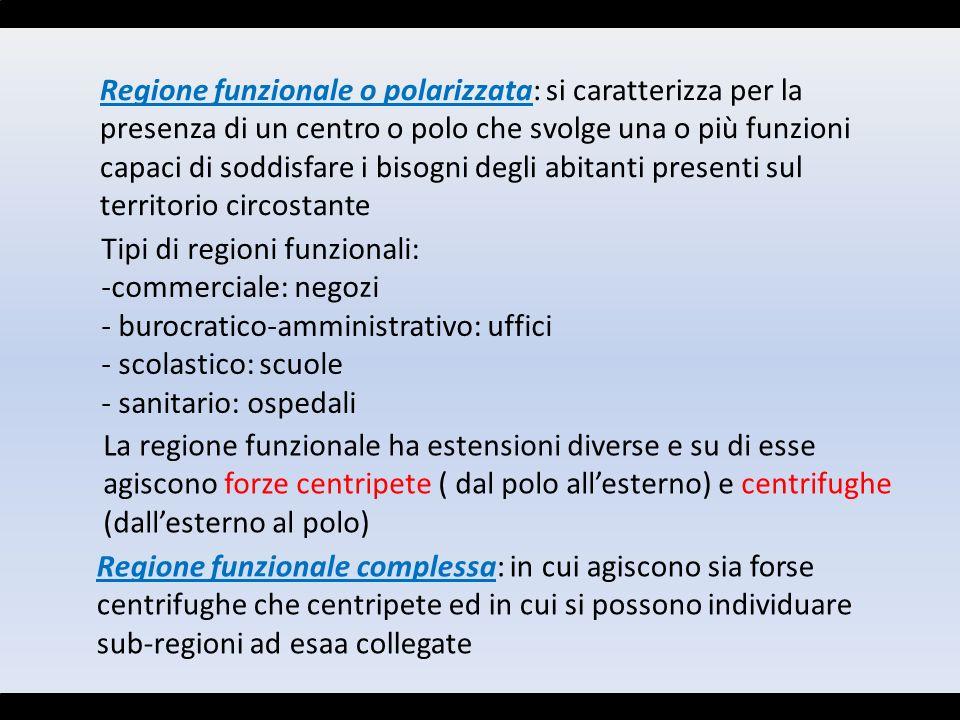 Regione funzionale o polarizzata: si caratterizza per la presenza di un centro o polo che svolge una o più funzioni capaci di soddisfare i bisogni degli abitanti presenti sul territorio circostante