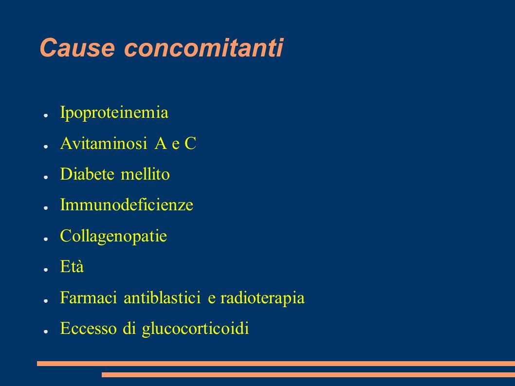 Cause concomitanti Ipoproteinemia Avitaminosi A e C Diabete mellito