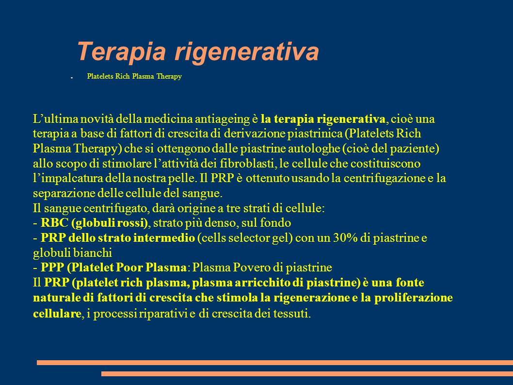 Terapia rigenerativa Platelets Rich Plasma Therapy.