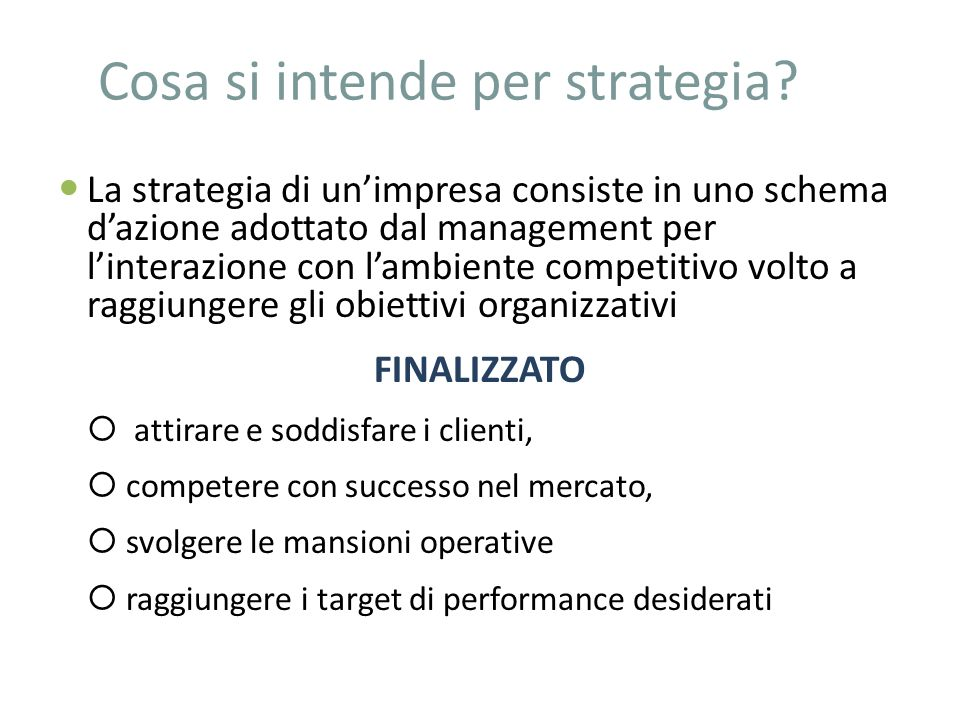 Cosa si intende per strategia