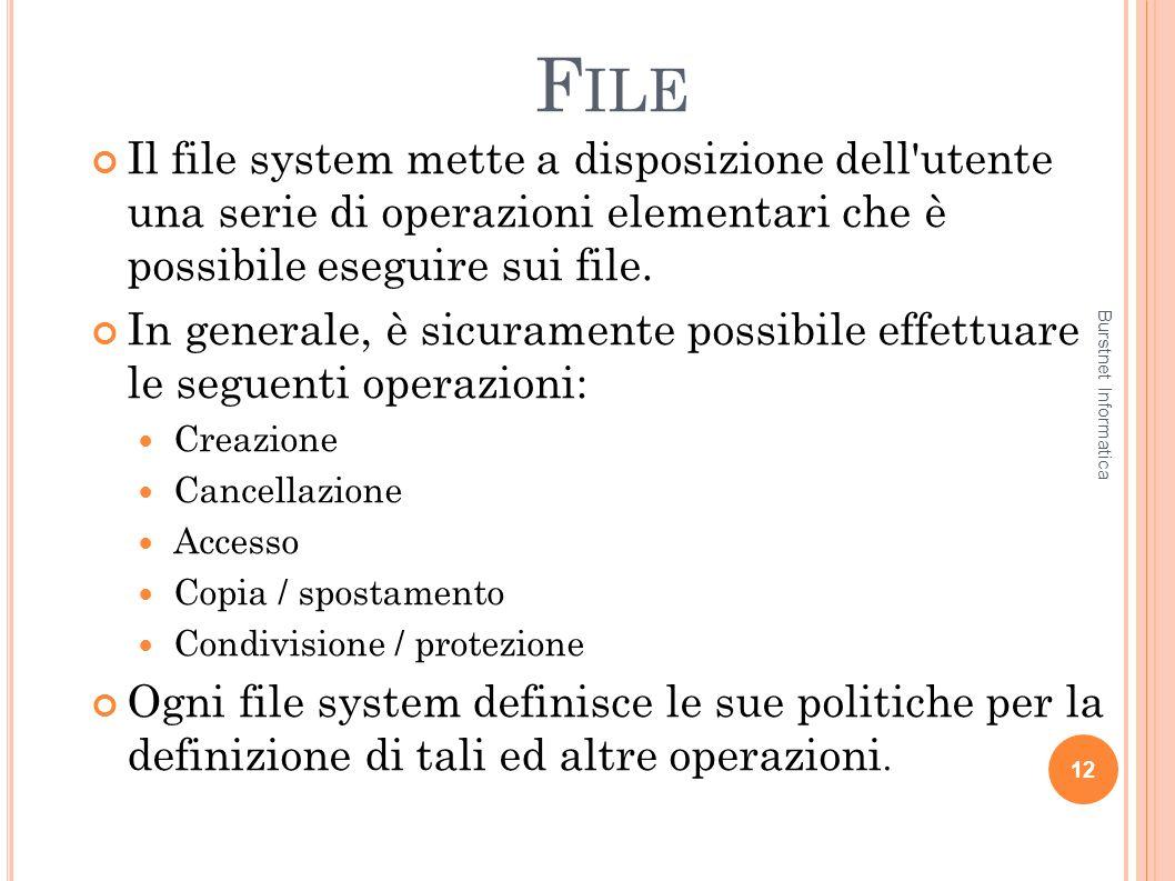File Il file system mette a disposizione dell utente una serie di operazioni elementari che è possibile eseguire sui file.