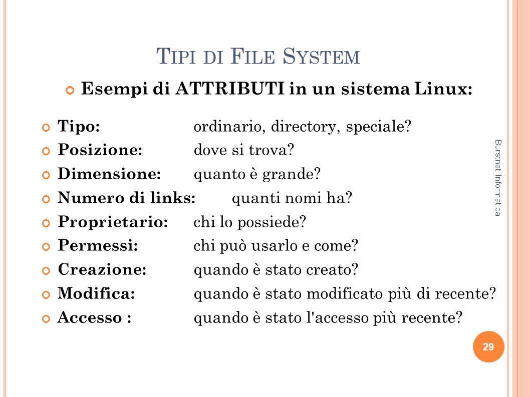 Esempi di ATTRIBUTI in un sistema Linux: